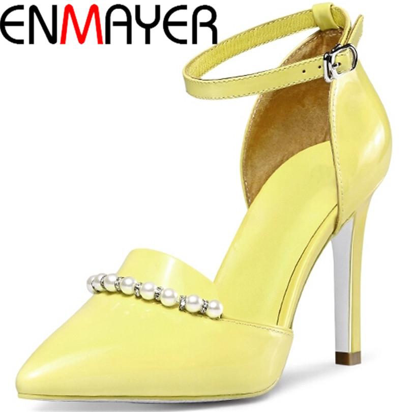 Фотография ENMAYER  Shoes Women Spring Summer Women  Pumps High Heels Pumps Fashion Heels Rhinestone Sexy  Platform Pumps Fashion Sale On