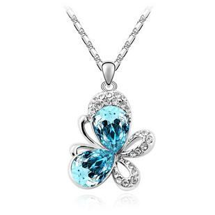 New 2014 Crystal Pendants Animal Necklaces Butterfly Full Of Rhinestone Fashion Jewelry For Women Silver Plated(China (Mainland))
