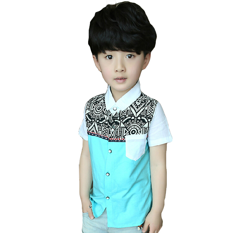 2015 New baby boys shirts brand childrens short-sleeve shirt Bohemian style spring summer Patchwork child clothing boy blouse<br><br>Aliexpress
