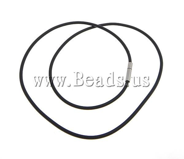 Free Shipping Rubber Necklace Cord, black color rubber with brass bayonet clasp, Korea style, 2mm, 14x3mm, 100Strands 18 Inch<br><br>Aliexpress