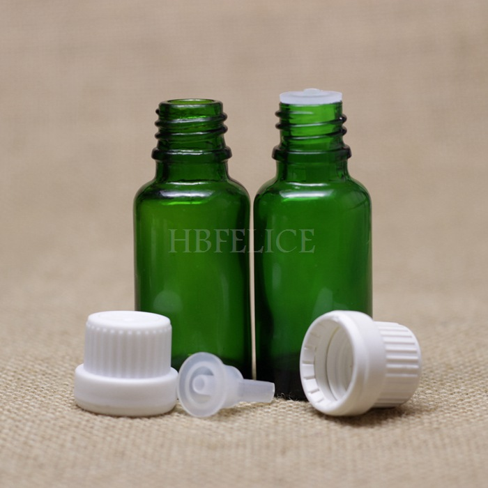 Wholesale 468pcs/LOT 20ml Green glass bottles with White Tamper Evident Cap Plastic plug(China (Mainland))