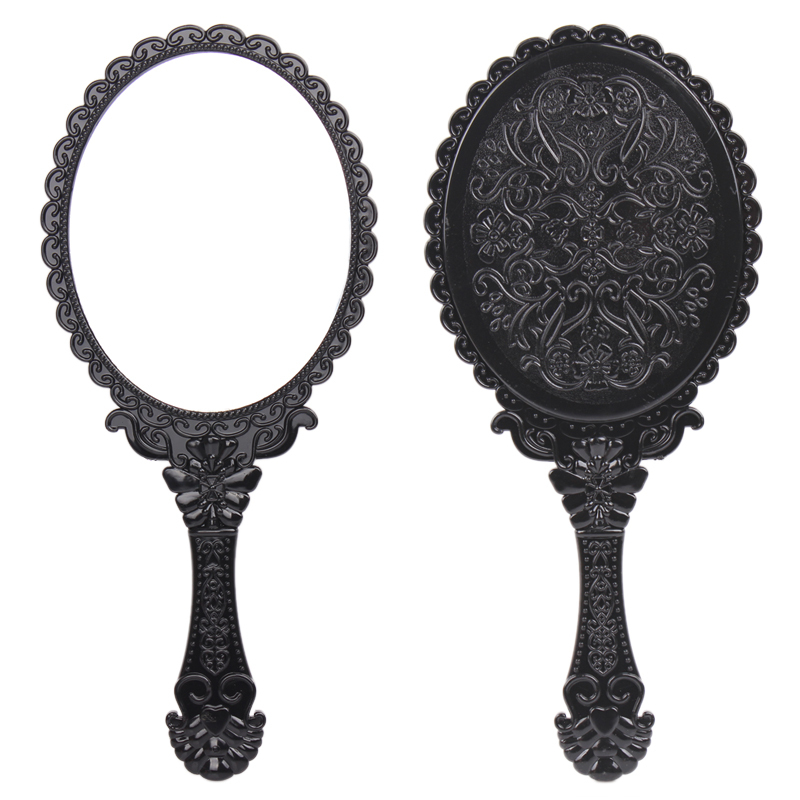 Vintage Queen Makeu Cosmetic Mirror Round/Portable Folding Decorative Mirrors Espelhos Wall Hand Mirror p Beauty Gift for Women()