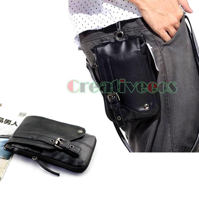 Men PU Leather Hook Shoulder Messenger Hip Belt Fanny Pack Pouch Waist Multi-Purpose Bag(China (Mainland))
