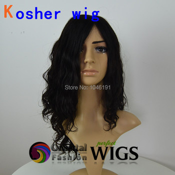 Top quality 22 inch 1B natural black big layer Mongolian hair Kosher wig Jewish wigs for woman factory price
