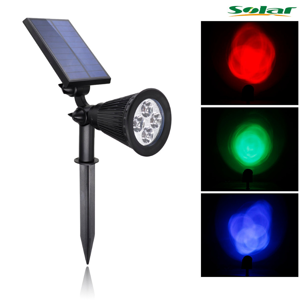 Rgb 4led solar light outdoor waterproof solar power for Garden lights
