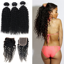 Grade 7A Malaysian Curly Hair With Closure 3 Malaysian Virgin Hair Bundles With Lace Closures Grace Hair Products With Closure(China (Mainland))