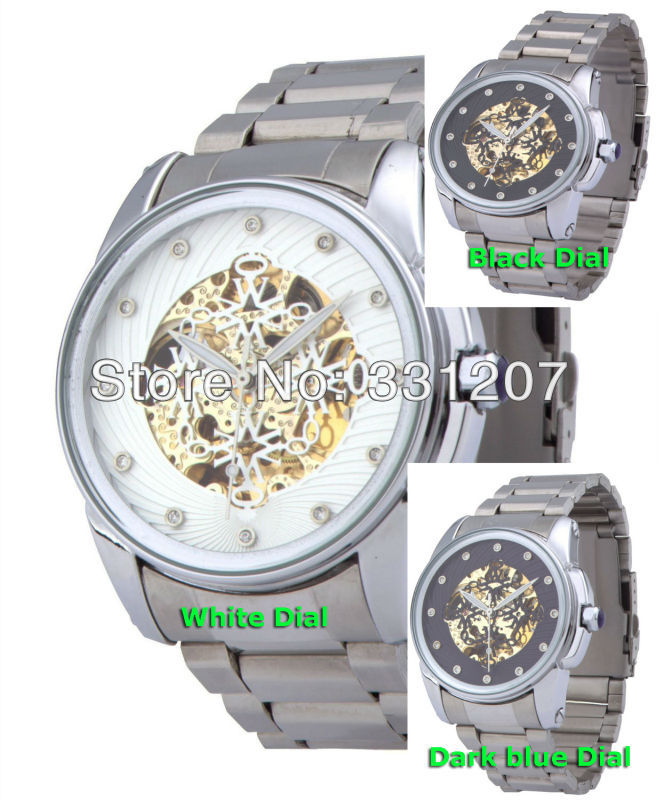 2014 business Ouyawei Men Round Craving white Dial Stainless Steal Strap Automatic selfwind Visible movement Mechanical Watches(China (Mainland))