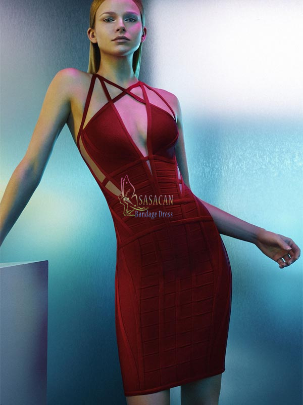 Top Quality New Arrival hot Selling HL bandage Dress 2016 Sexy fashion red deep v-neck bandage package hip Slim dressesОдежда и ак�е��уары<br><br><br>Aliexpress