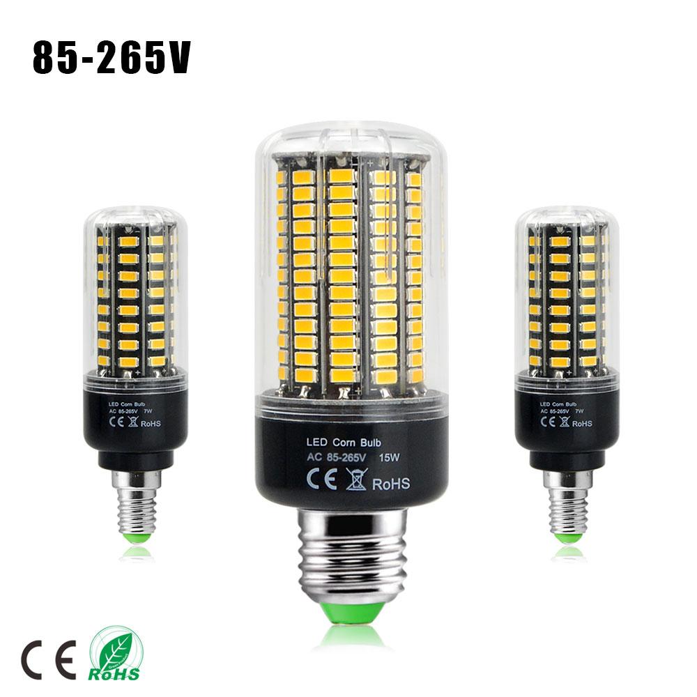 Latest 5736 SMD More Bright 5730 E27 E14 220V 110V LED Corn lamp Bulb light 3W 5W 7W 8W 12W 15W LED Spotlight No Flicker(China (Mainland))