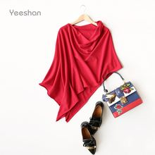 Yeeshan Irregular Cashmere Poncho Women Special Design Pullover Women's Poncho Red Grey Camel Women's Scarf Luxury Brand(China (Mainland))