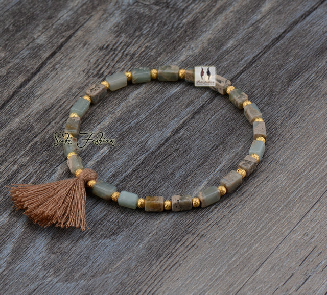 Natural Square Stone With Tel Stretched Bracelets Boho Elastic Bracelet Handmade In Strand From Jewelry