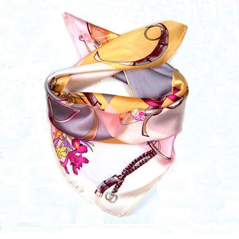 LING/ Elegant Pure Silk Fashion Scarf,Square Pink Printed Twilly Women Foulard Satin,Soft Necklace,Head Bandana#XF33093(China (Mainland))