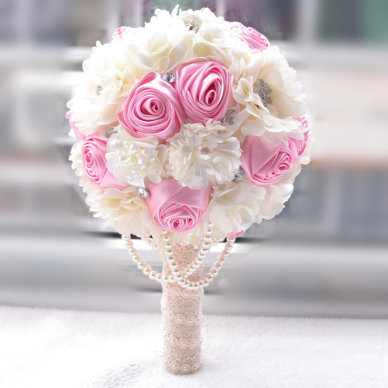 Wedding Accessories Rhinestones Wedding Bouquet Bridal Bridesmaid Brooch Bouquet Artificial Rose Holding Flower with pearl FE5(China (Mainland))
