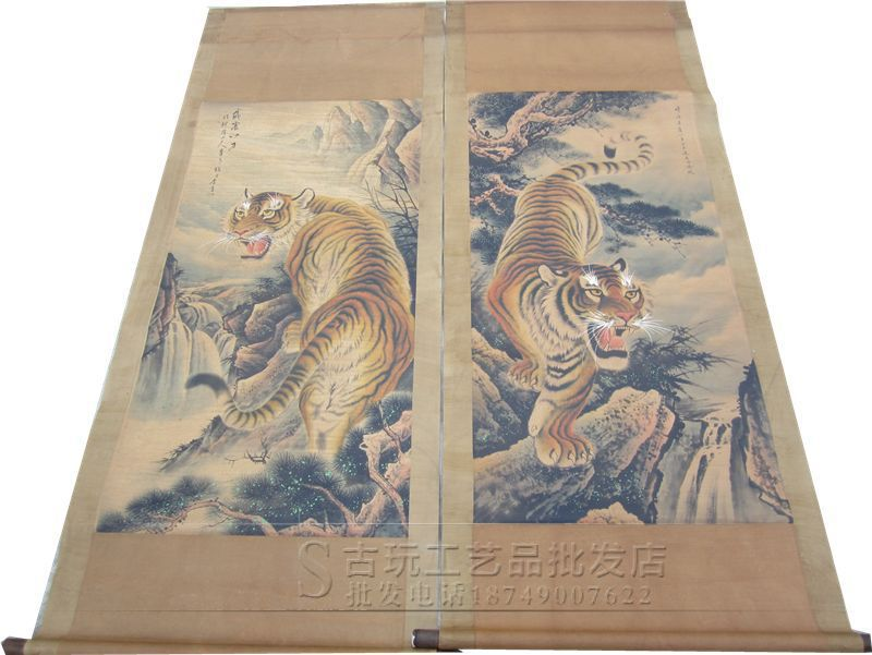 Wholesale high quality antique paintings Living room decorative long scroll painting Tiger down the mountain Zodiac Picture(China (Mainland))