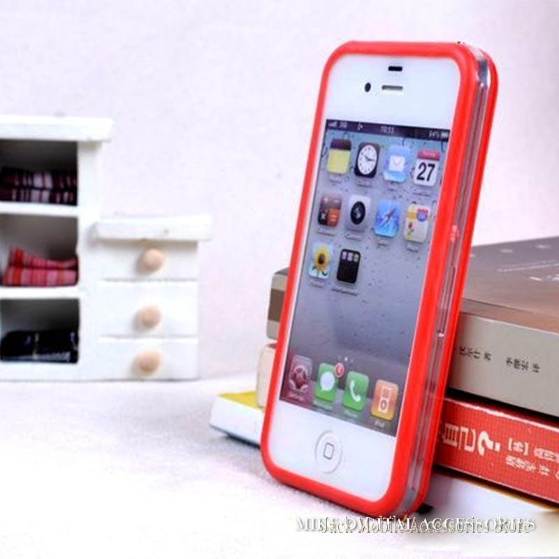 For iPhone 4 4S New TPU+PC Intermediate Transparent Border Bumper Case Candy Colors Bumper Fram