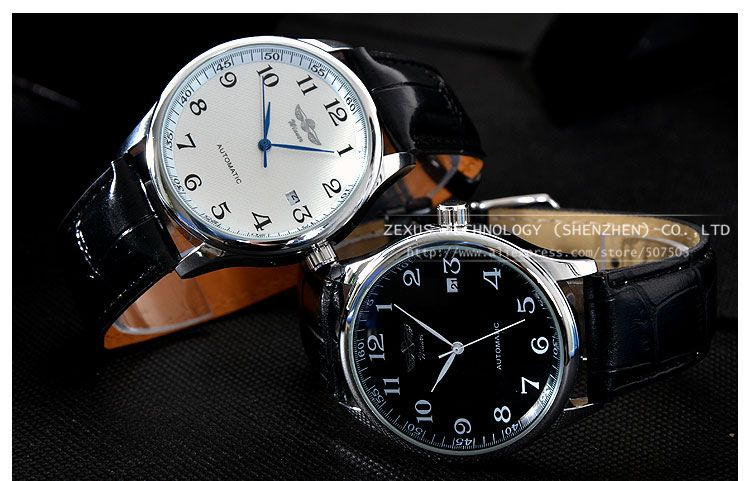 2015 New Brand Fashion Pu Leather Strap Men Automatic Mechanical Watch Self Wind Watch With Calendar