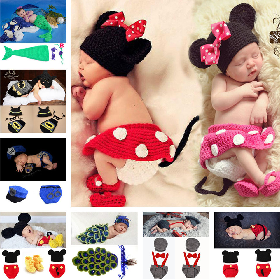 Mickey Design Baby Girl Crochet Photo Props Knitted Baby Hat Skirt PANTS Shoes Set Newborn Photography Costume 1set MZS-14109(China (Mainland))