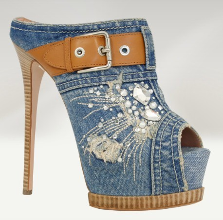 Europe 2015 new high heeled sandals buckle fish mouth denim lace diamond wedding shoes women