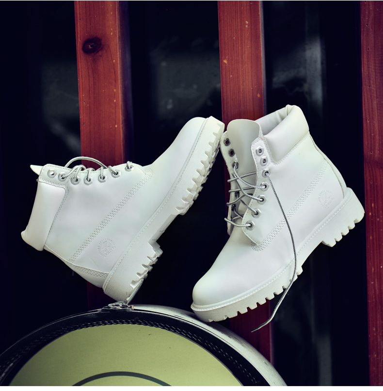 2016 New Fashion Women Timber Boots White Leather Work Martin Boots Lady Winter Casual Ankle Platform Boots Brand Flat Zapatos