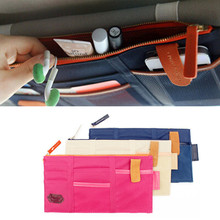 Top Quality colorful Car Sun Visor Storage Point Pocket Documents Organizer Bag Pouch Card Holder Credit Card Namecard pen