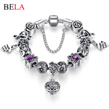 2015 Russia Belarus Popular Women Bracelet 925 Silver Heart Charm Bracelet & Bangle With Vintage Silver Beads Jewelry  PS3195(China (Mainland))