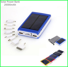 High Capacity 20000mAh Solar Powerbank Charger with 2 Dual USB Output LED Lighting Power Bank for iphone/Samsung/HTC Smart Phone(China (Mainland))