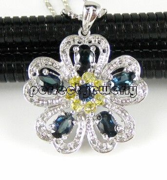 Sapphire pendant Natural real sapphire citrine 925 sterling silver Fine jewelry #14100804