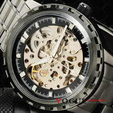 luxury men's sports military skeleton watches automatic self wind mechanical  fashion watch full steel black gun colour band(China (Mainland))