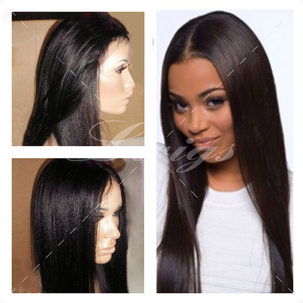 Yaki Straight Glueless Full Lace Wig Black Color 130 Density Rpg Show Middle Part Lace Front Human Hair Wigs Free Shipping<br><br>Aliexpress