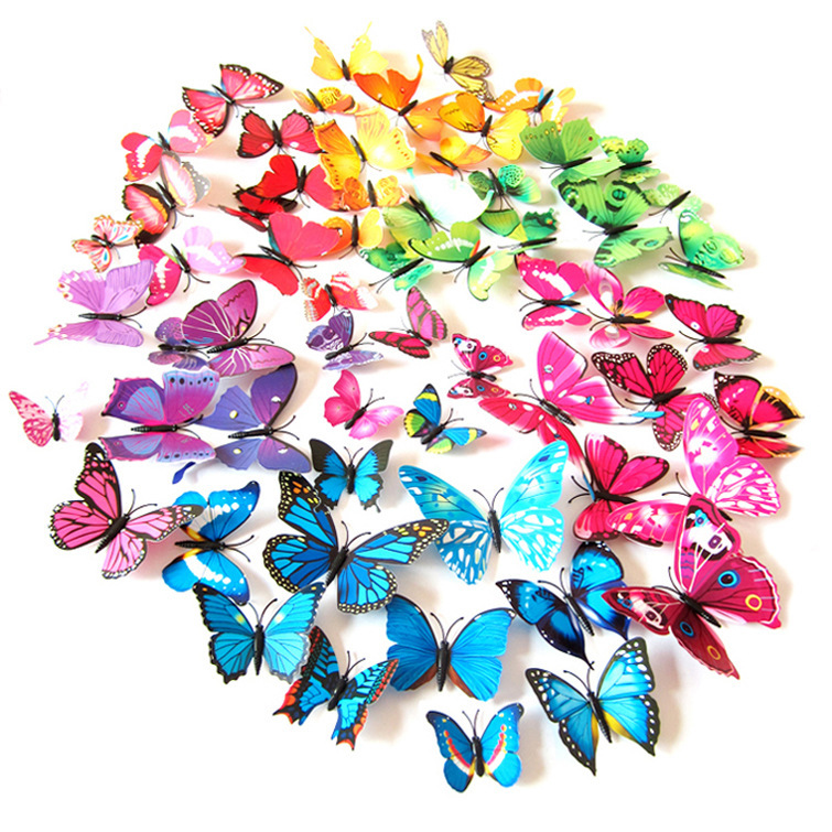HOT 3D butterfly wall sticker home decor adesivo pegatinas de pared decoration rooms vinilos infantiles adhesive to wall qm0003(China (Mainland))