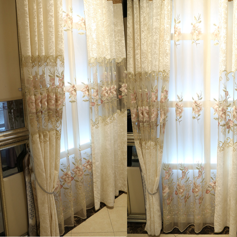 Free Shipping European Style Embroidery Tulle Ice Velvet Sheer Curtains For L