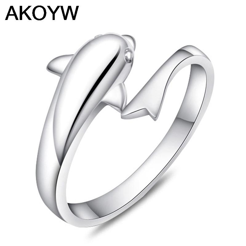 S925 sterling silver rings romantic fashion cute dolphin lovers ring rhodium ring opening women's jewelry(China (Mainland))