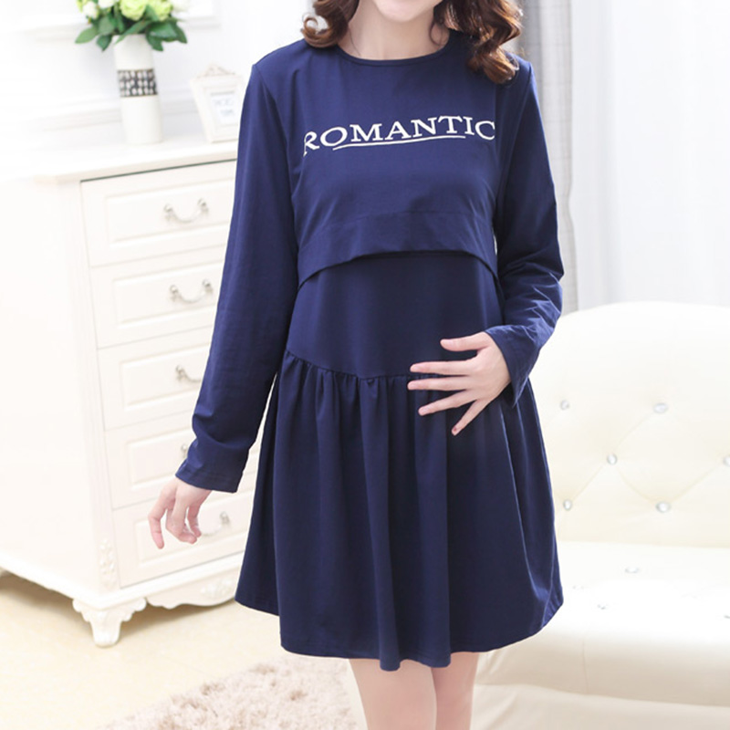 Top Selling Spring Autumn O Neck Pregnancy Clothes Loose Casual Pregnant Dress Nurse Clothing Pleated font
