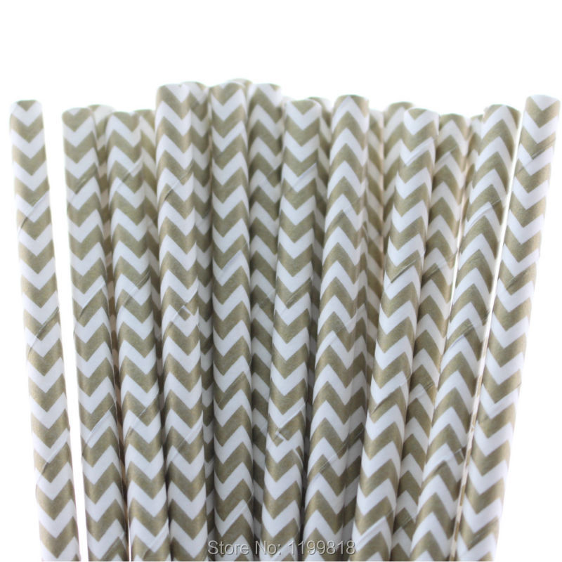 Free Shipping!!! 1000 pcs/lot Gold Paper Straws Wedding Supplies Disposable Chevron Drinking Paper Straws(China (Mainland))