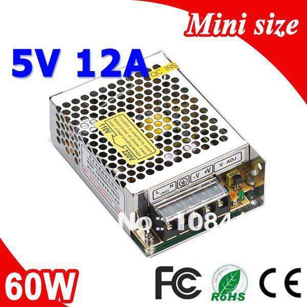 Купить Электротехническое оборудование и материалы  MS-60-5 60W 5V 12A Mini size LED Switching Power Supply Transformer 110V 220V AC to DC output None
