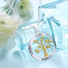 Tree Of Life Gold Heart Leaf Love Family Letter Silver Gold Pendant Necklace Jewelry Stamped Best