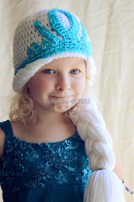 Crochet Elsa Hair Hat : ... Crochet-hat-Elsa-hat-Anna-Hat-Toddler-Kids-Girls-Winter-Hats-Children