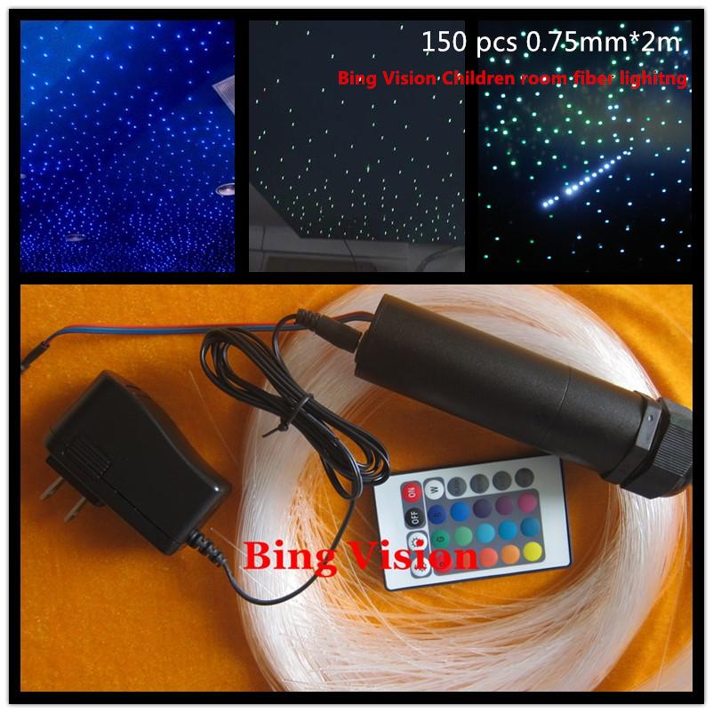 rgb led fiber optic star ceiling kit 150 pcs 0.75mm *2 meters ,24key remote for optical fiber lighting of children room(China (Mainland))