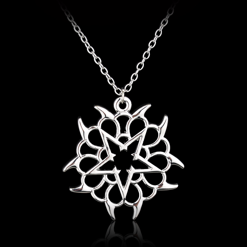 Hot sale famous Rock Band Black Veil Brides Rock Music BVB Logo Pendant Necklace silver metal chain necklace for women jewellery(China (Mainland))