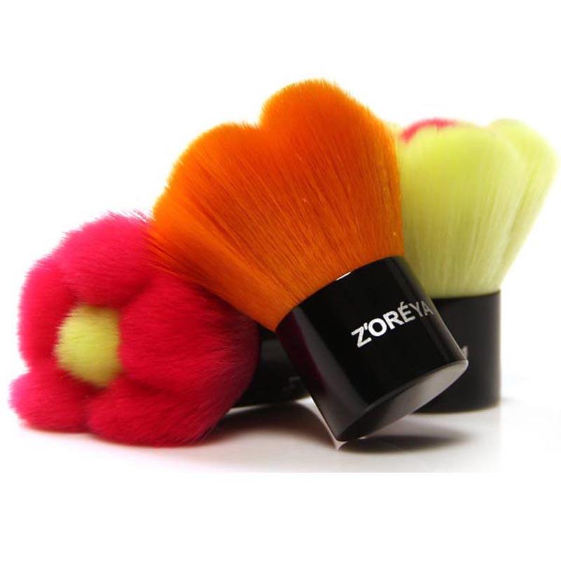 ZOREYA Girls Best Gift Flower Shaped multifunctional Foundation Loose Powder Brush Blush brush 3 Colors Available Free Shipping(China (Mainland))
