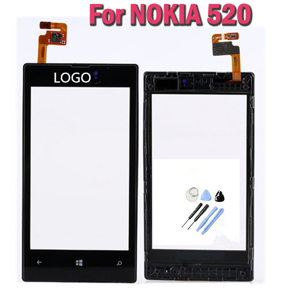 One pcs Original Touchscreen For Nokia LUMIA 520 LCD Display Touch Screen digitizer With Frame Replacement Parts +Tools FreeShip(China (Mainland))