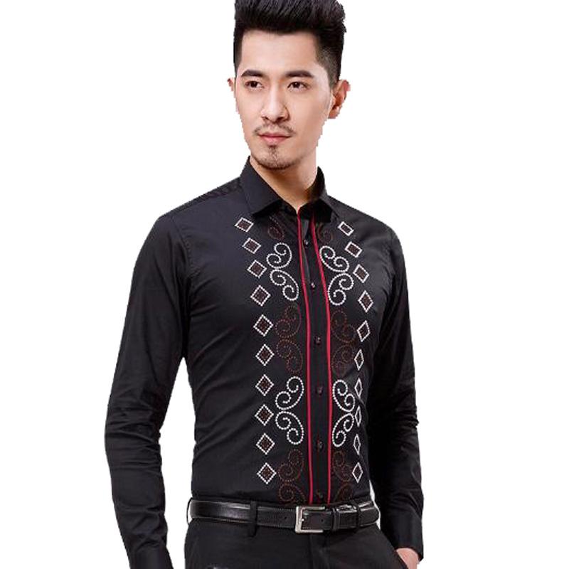 Buy fashion male 100 pure cotton long for Mens dress shirt monogram location