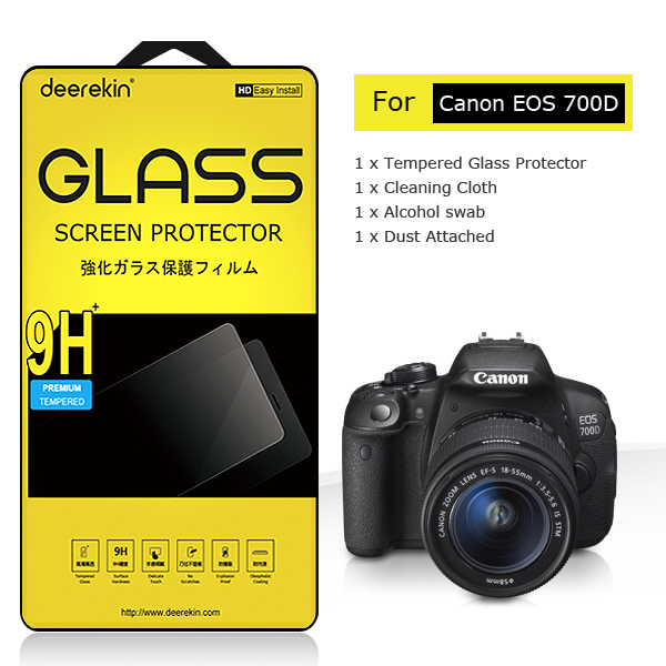 Deerekin 2.5D Edge 0.3mm Slim Tempered Glass LCD Screen Protector for Canon EOS 700D 760D 750D Rebel T5i T6s T6i / 70D(China (Mainland))
