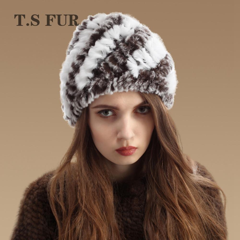 Women Genuine Knitted Rex Rabbit Fur Hats Natural Stripe Rex Rabbit Fur Caps lady winter warm Headwear(China (Mainland))
