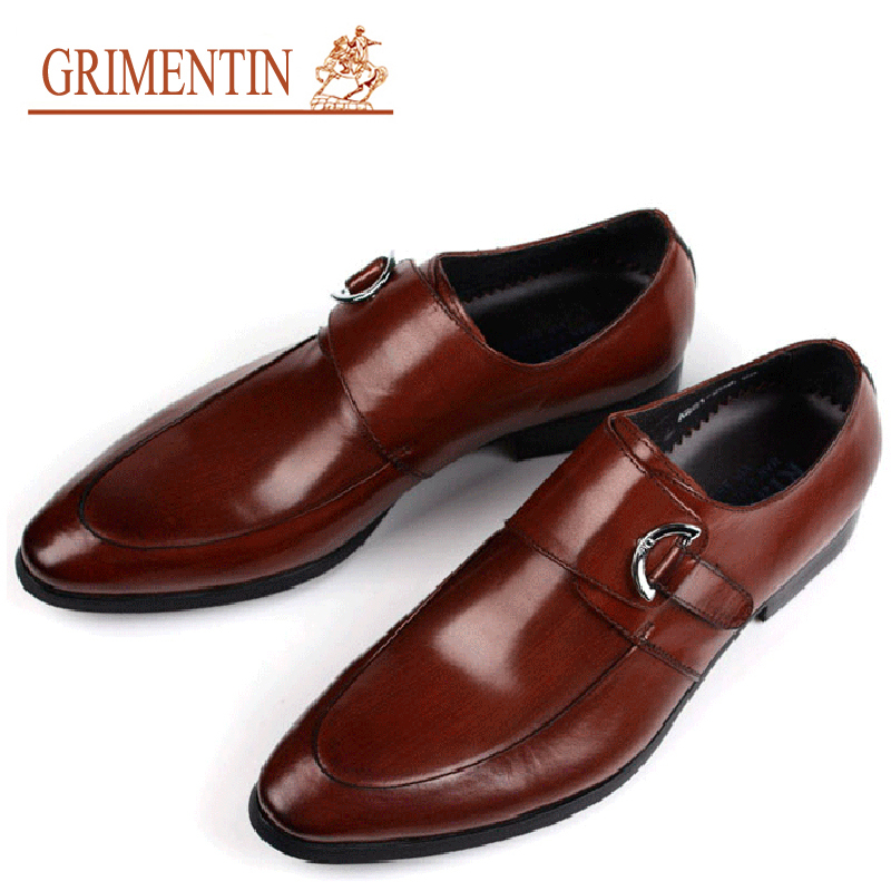 2015 new men dress shoes buckle strap handmade genuine leahter italian brand formal wear designer shoes party size6.5-10.5 ox25(China (Mainland))