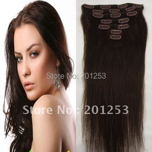 20 New Fashion 100g Thickly Clip in/on Straight Remy Human Hair Extensions, Dark Brown #2, 1set/lot, Free Shipping<br><br>Aliexpress