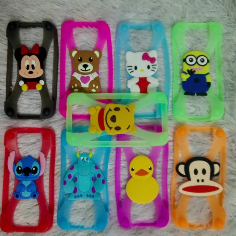 Stitch Minnie kitty Silicone frame Phone Cases For iPhone 5 6 6s Cartoon Rubber Cover Universal Bumper Case for apple Samsung