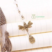 Carroteer Shop  Vintage Exquisite Alloy Bronze Beads Bowknot Pattern Carved Mermaid Bookmark(China (Mainland))