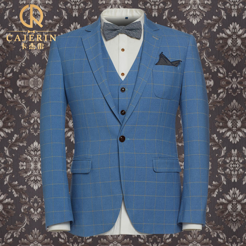 Brand clothing wedding suits for men royal blue tuxedo for Royal blue plaid shirt mens