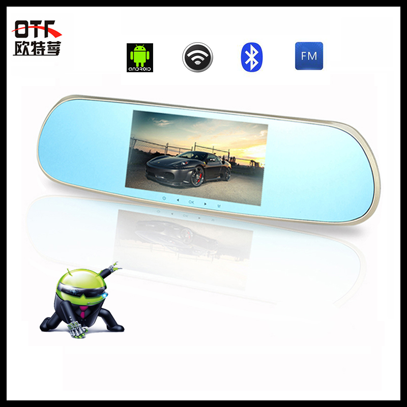 "New 5.0"" Dual Cameras Car DVR + Rear view Mirror + Android System Car Video Recorder WIFI Bluetooth Car Dash Cam GPS Navigator(China (Mainland))"